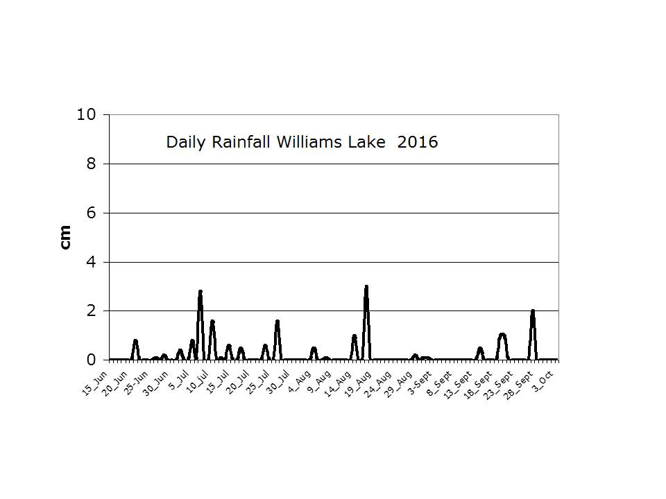 Daily Rainfall in Williams Lake area, 2016