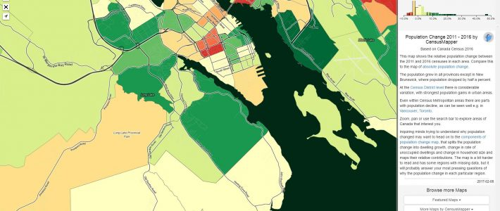 CensusMapper shows Williams Lake area growth 2011-2016